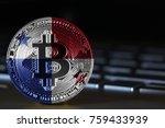 bitcoin close up on keyboard...   Shutterstock . vector #759433939