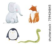 set of cute watercolor... | Shutterstock . vector #759434845