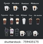 set of coffee menu with a cups... | Shutterstock . vector #759435175