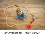 children play with wooden toy ... | Shutterstock . vector #759435424