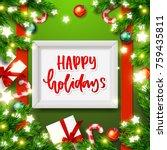 christmas greeting card. xmas... | Shutterstock .eps vector #759435811