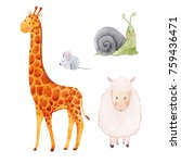 set of cute watercolor... | Shutterstock . vector #759436471