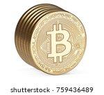 golden bitcoins isolated on... | Shutterstock . vector #759436489