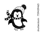 funny penguin. nursery art.... | Shutterstock .eps vector #759439465