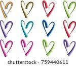 heart shape vector design set | Shutterstock .eps vector #759440611