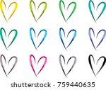 heart shape vector design set | Shutterstock .eps vector #759440635