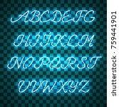 glowing blue neon script font...   Shutterstock .eps vector #759441901