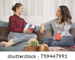 friends enjoying in... | Shutterstock . vector #759447991