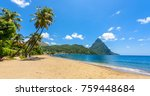paradise beach at soufriere bay ... | Shutterstock . vector #759448684