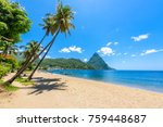 paradise beach at soufriere bay ... | Shutterstock . vector #759448687