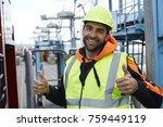 double thumbs up docker smiling ... | Shutterstock . vector #759449119