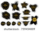 set of black ink vector stains   Shutterstock .eps vector #759454009
