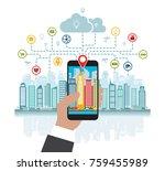 smartphone in hand helps to...   Shutterstock .eps vector #759455989