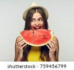 woman eating watermelon. studio ...   Shutterstock . vector #759456799