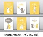 set of birthday cards poster... | Shutterstock .eps vector #759457501