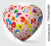 heart with pop art pattern with ... | Shutterstock .eps vector #759460489
