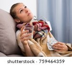 young woman is unhealthy and... | Shutterstock . vector #759464359