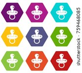 baby pacifier icon set many... | Shutterstock .eps vector #759468085