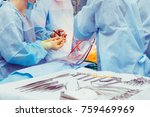 the assistant hands the...   Shutterstock . vector #759469969