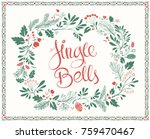 Hand drawn Greeting Card on Christmas with Floral Frames with Shabby Texture and Lettering Jingle Bells - stock vector