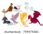 set of mythical  mythological... | Shutterstock .eps vector #759475381