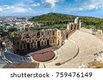 ancient theater in a summer day ... | Shutterstock . vector #759476149