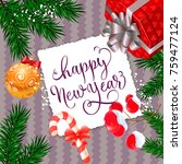 happy new year calligraphy on... | Shutterstock .eps vector #759477124