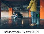 unconfident young woman parking ... | Shutterstock . vector #759484171