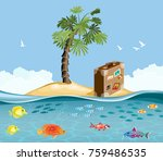 paradise island with fish and... | Shutterstock .eps vector #759486535