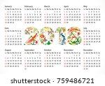 2018 new year calendar for... | Shutterstock .eps vector #759486721
