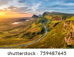 long winding road at quiraing... | Shutterstock . vector #759487645