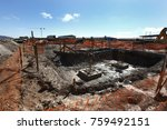 industrial building  foundation ... | Shutterstock . vector #759492151