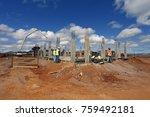 industrial building  foundation ... | Shutterstock . vector #759492181