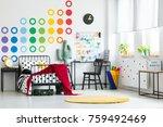 yellow clock on black cabinet... | Shutterstock . vector #759492469