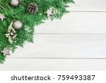 pine leaf with silver star and... | Shutterstock . vector #759493387