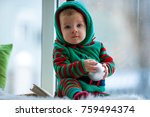 little boy in red and green... | Shutterstock . vector #759494374
