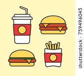 fast food snacks and drinks...   Shutterstock .eps vector #759496045