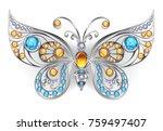 silver jewelry butterfly... | Shutterstock .eps vector #759497407