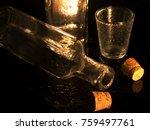 corks  glass of water  bottle... | Shutterstock . vector #759497761
