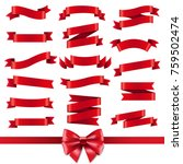 red ribbon and bow set with... | Shutterstock .eps vector #759502474