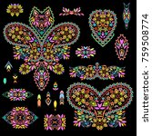 bright bohemian ethnic cliche... | Shutterstock .eps vector #759508774