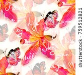 exotic flowers and leaves... | Shutterstock . vector #759512821