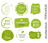 healthy food labels. organic... | Shutterstock .eps vector #759514525