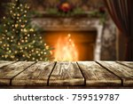christmas table with space for... | Shutterstock . vector #759519787