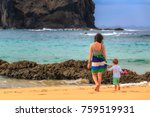 family walking to the beach in... | Shutterstock . vector #759519931