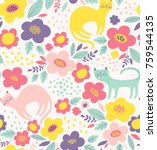 Stock vector cute floral pattern with cats colorful flower vector background 759544135