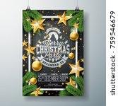 vector christmas party flyer... | Shutterstock .eps vector #759546679