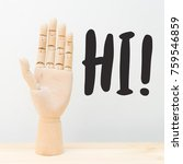wooden hand and communication... | Shutterstock . vector #759546859