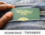 nigerian passport in denim... | Shutterstock . vector #759548095