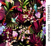 seamless floral pattern with... | Shutterstock .eps vector #759548491
